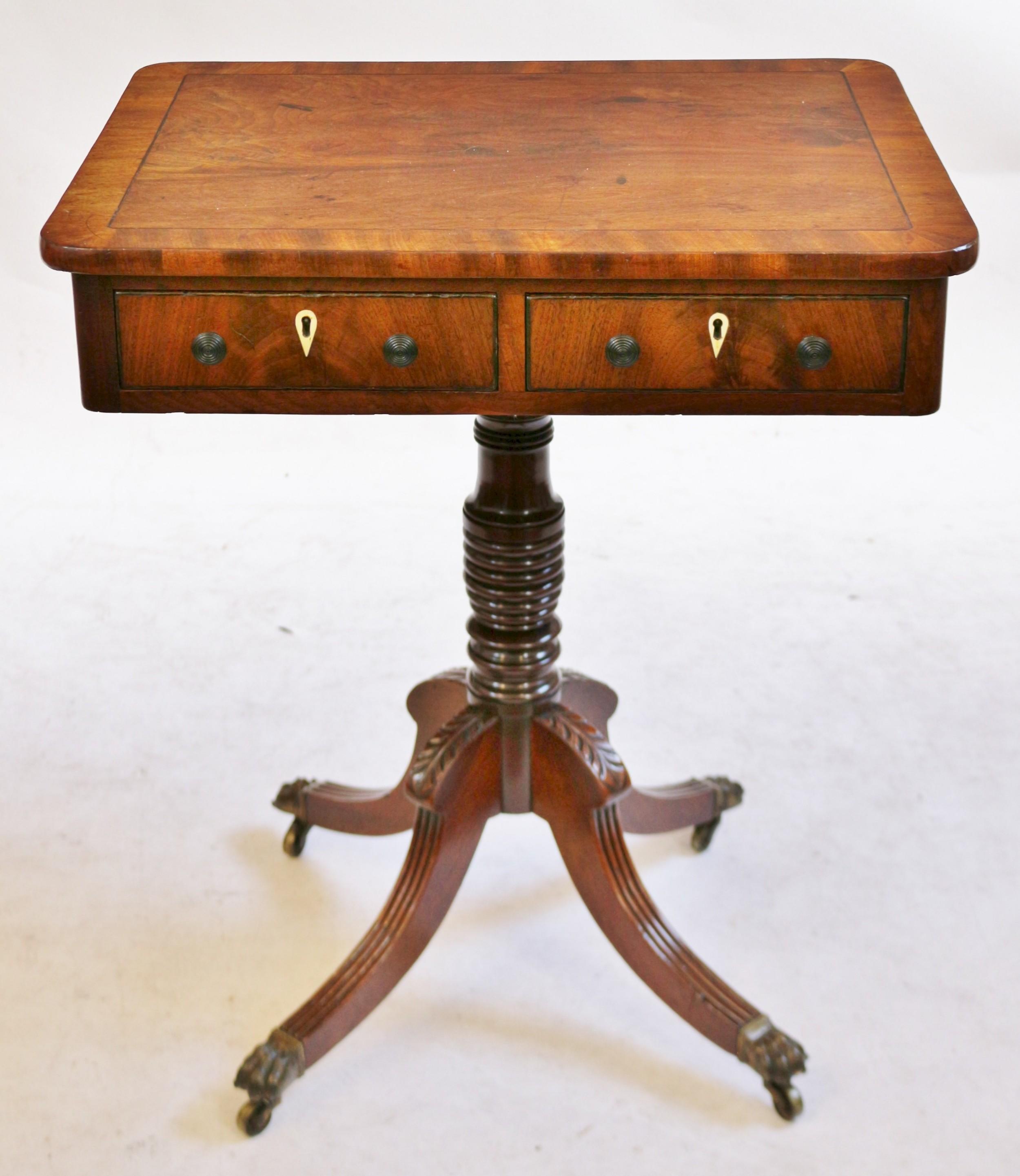regency mahogany 2 drawer freestanding pedestal table