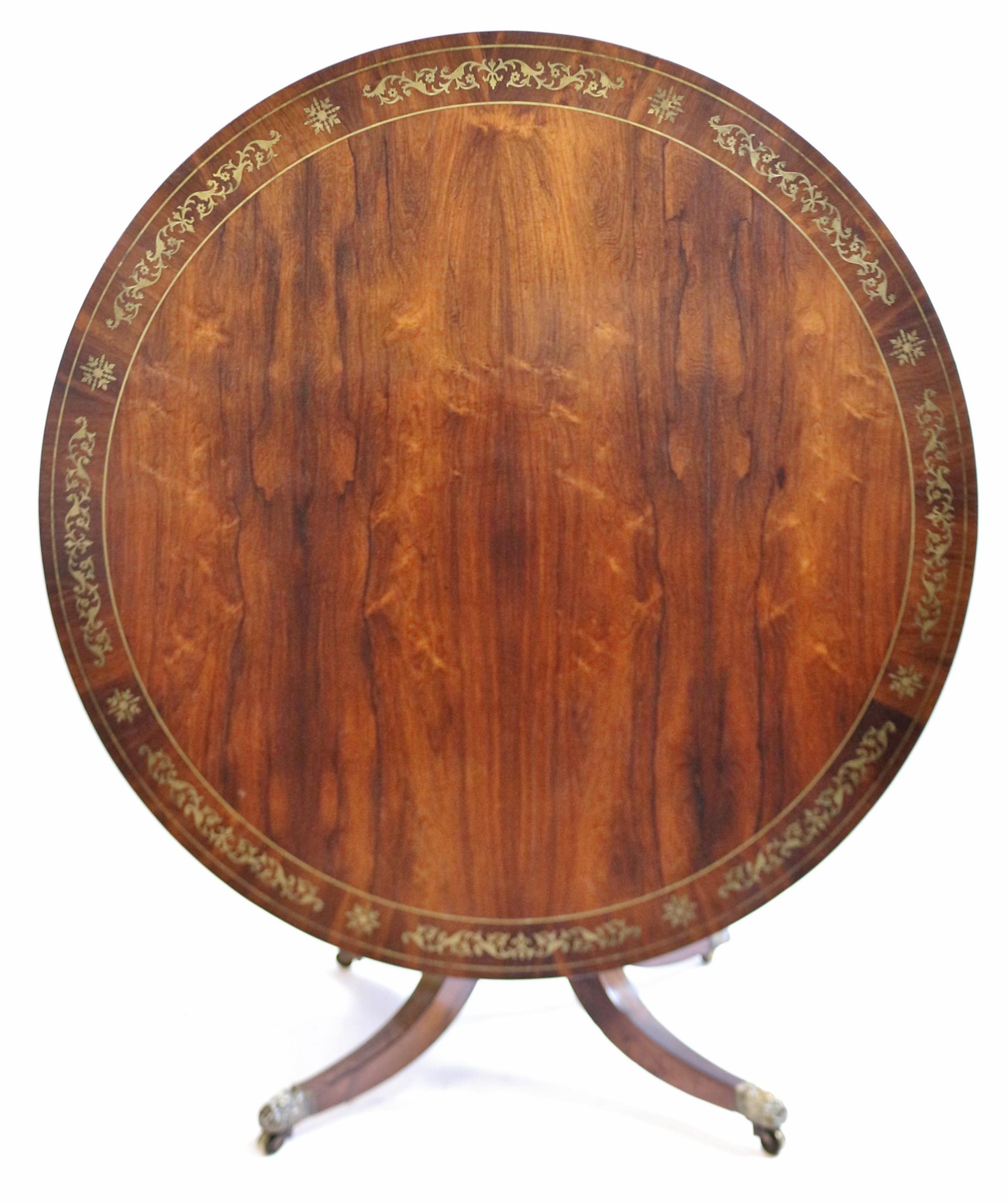 regency rosewood circular brass inlaid pedestal centre table