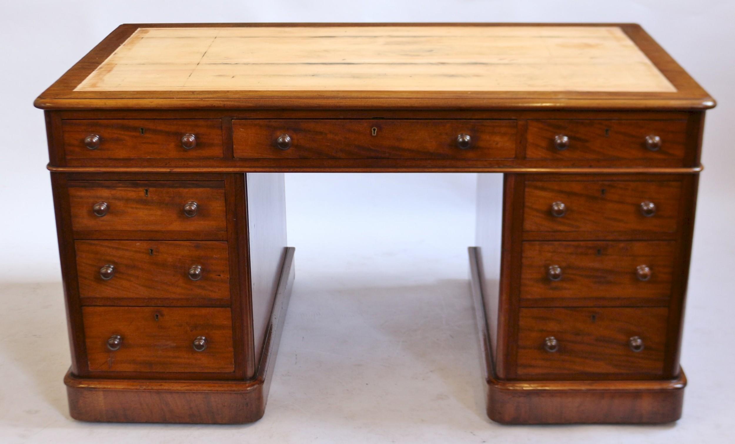 victorian 4' 6 mahogany 3 part 9 drawer kneehole desk