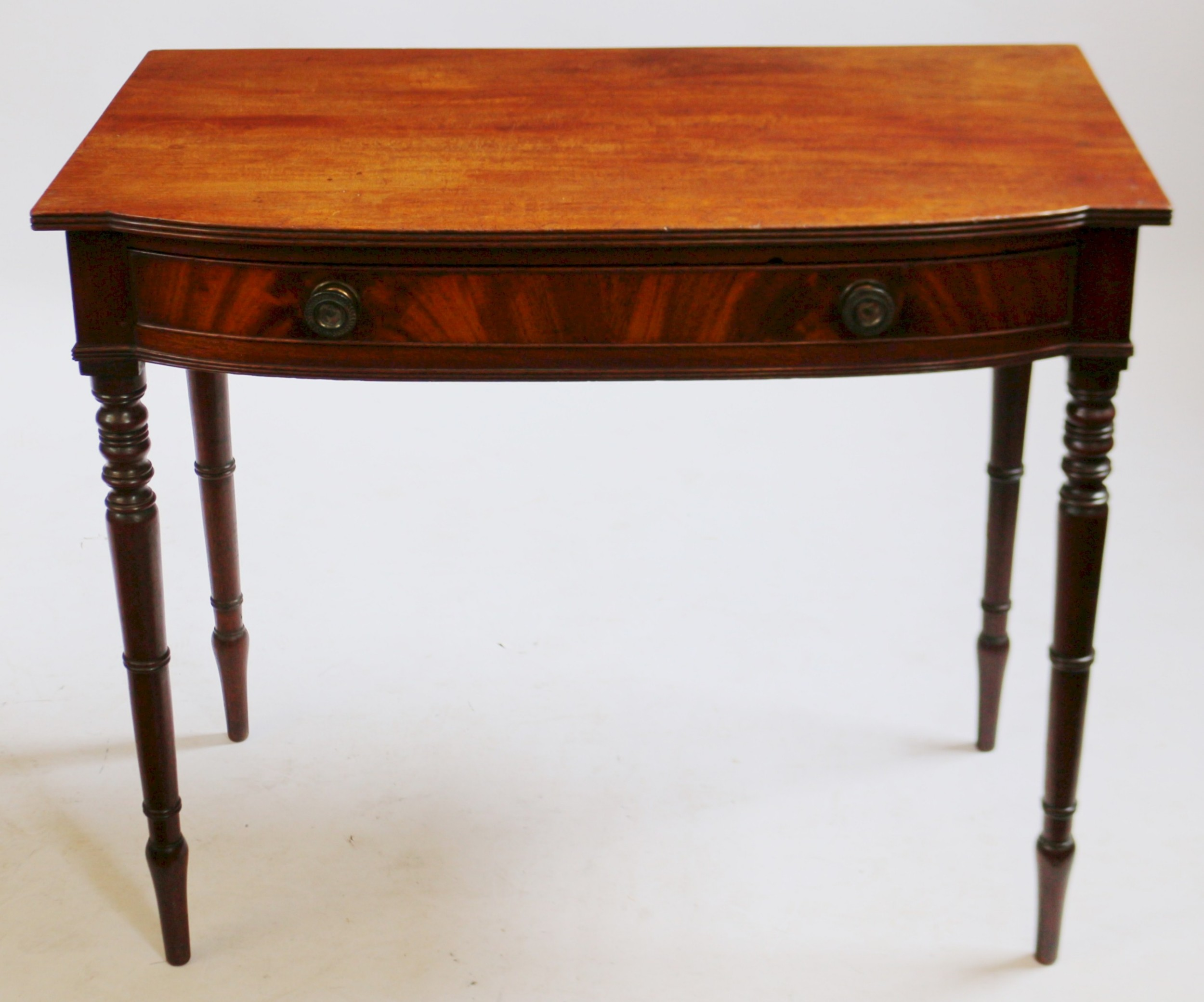 george 1v mahogany 1 drawer bowfront side table