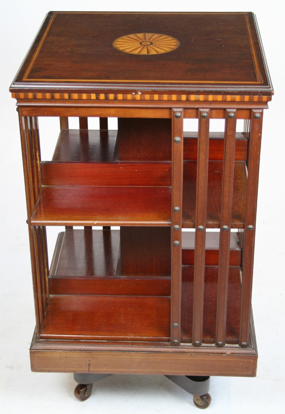 Edwardian inlaid mahogany revolving bookcase 253281 for Revolving end table