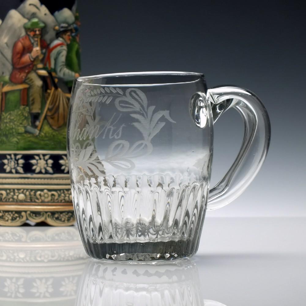 19th century engraved glass dutch tankard c1810