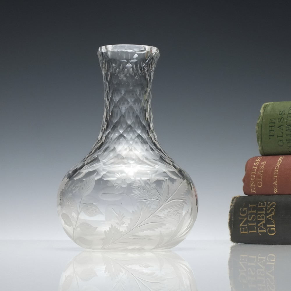engraved 19th century cut glass measure c1860