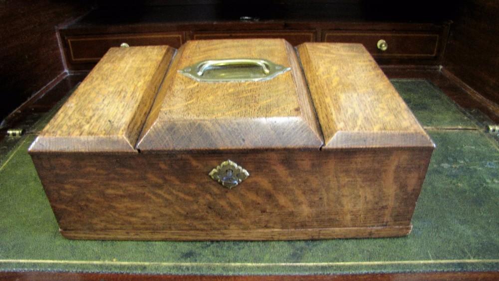 19th century antique oak humidor cigar box