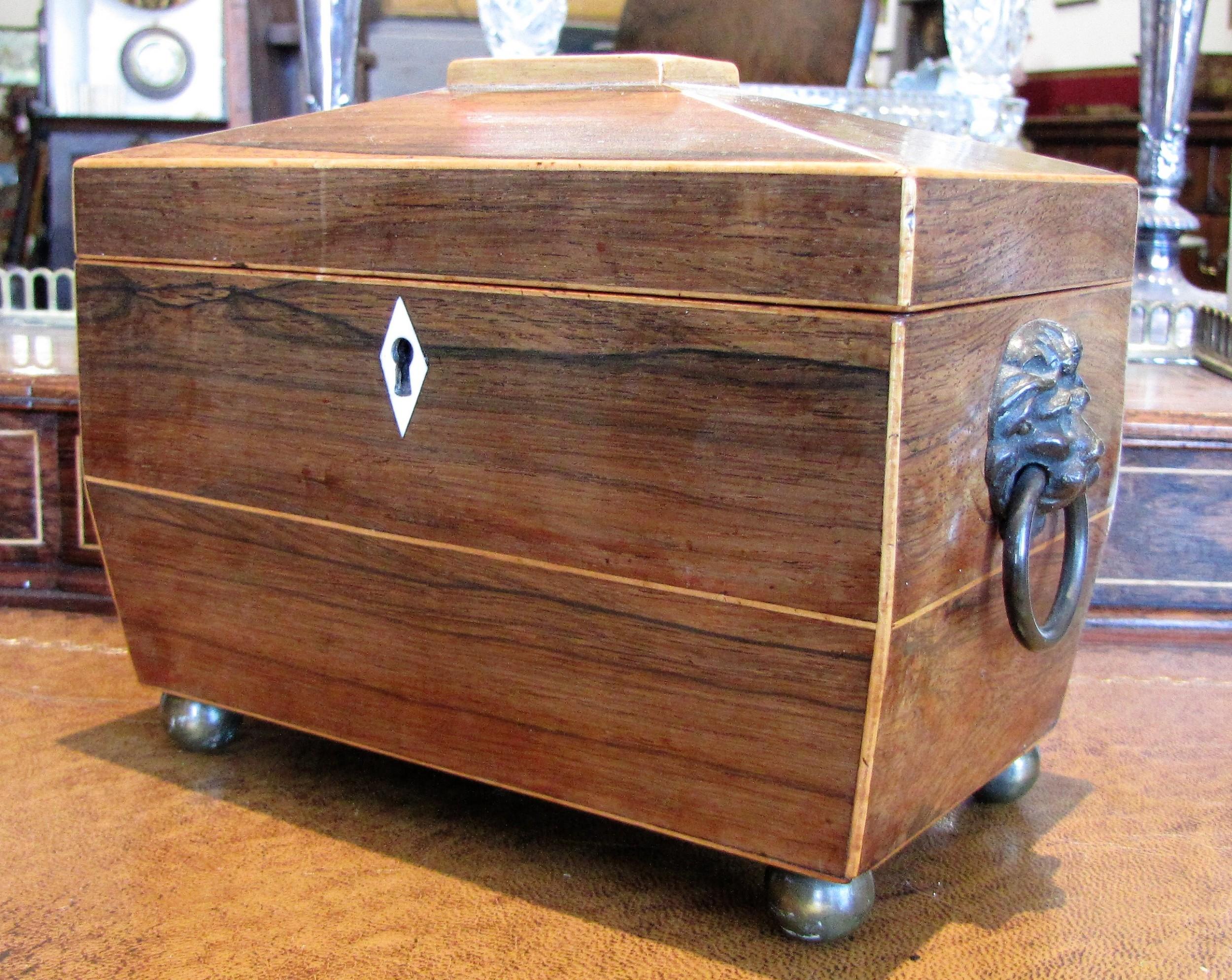 antique rosewood tea caddy