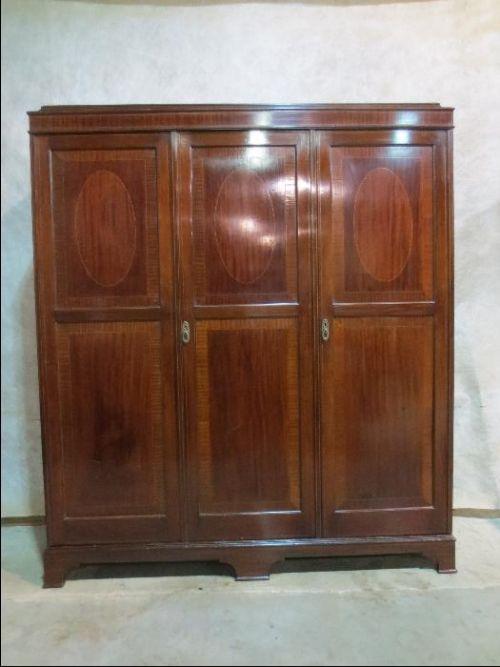 mahogany triple wardrobe