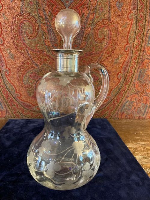 waisted acid etched whiskey decanter