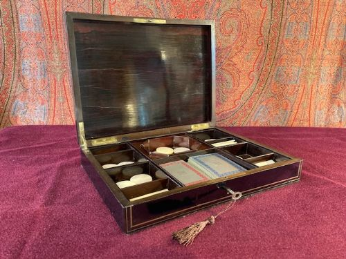 fine brass and mother of pearl inlaid games box