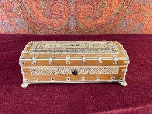 anglo indian vizagapatam sandalwood and bone box