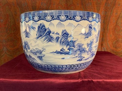 very large blue and white hibachi japanese hand warmer