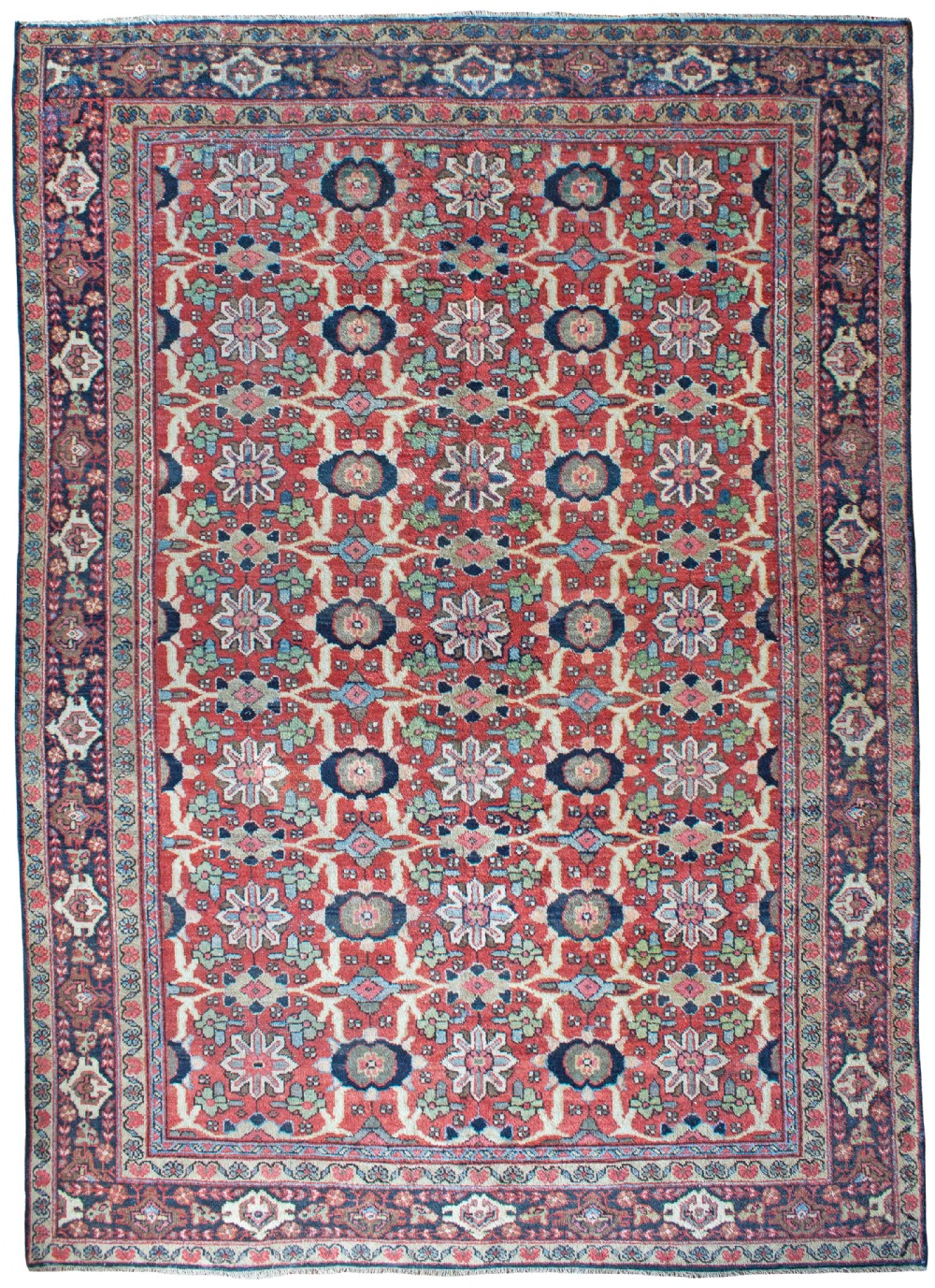 antique mahal carpet persian slightly distressed in places
