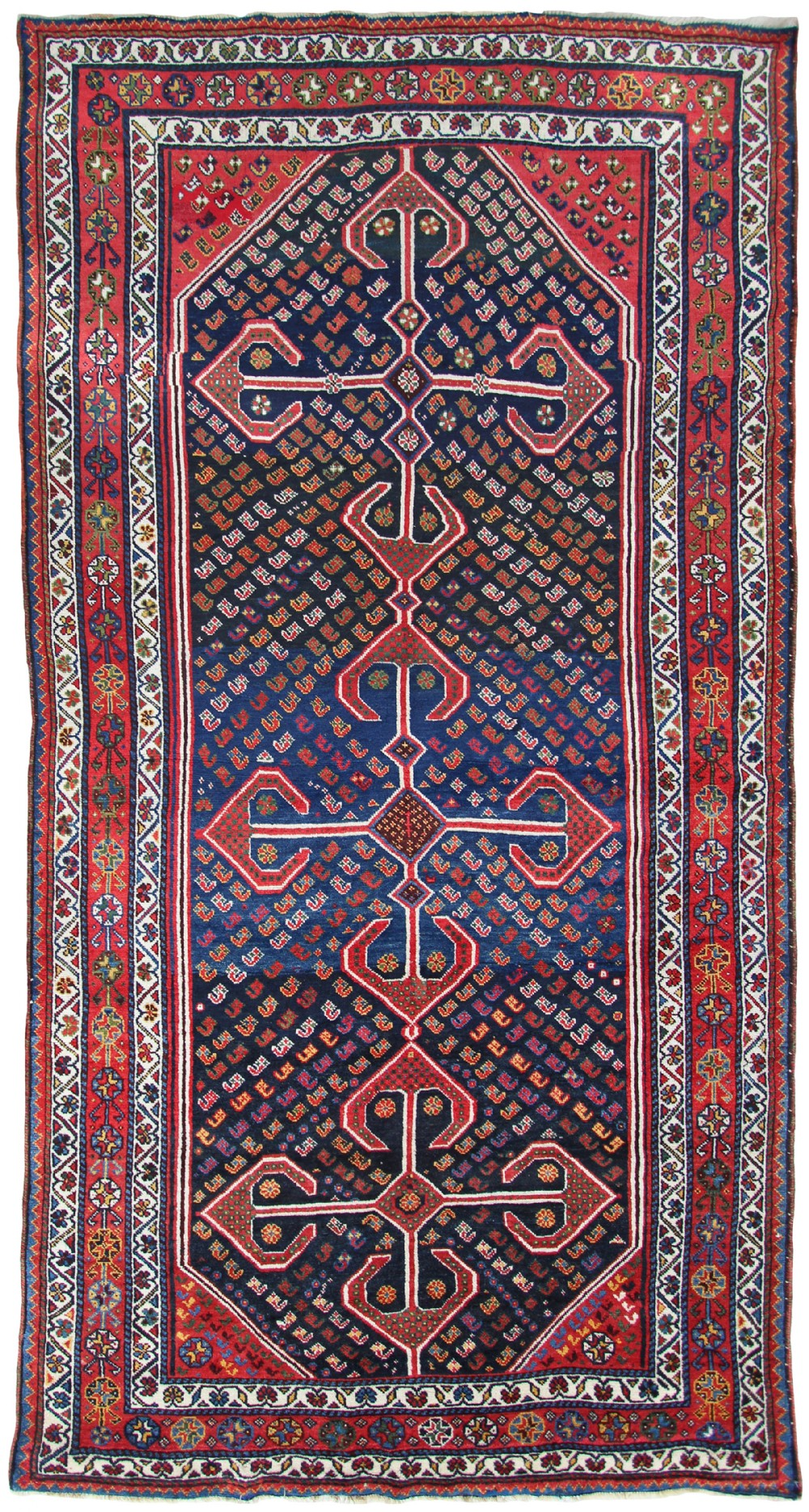 antique khamseh kelleh carpet