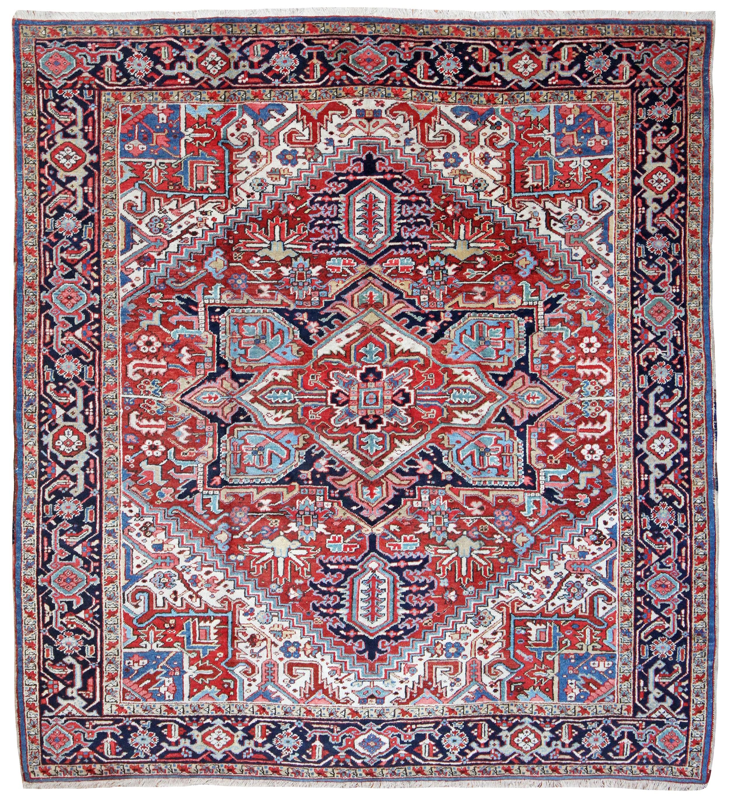square antique heriz carpet
