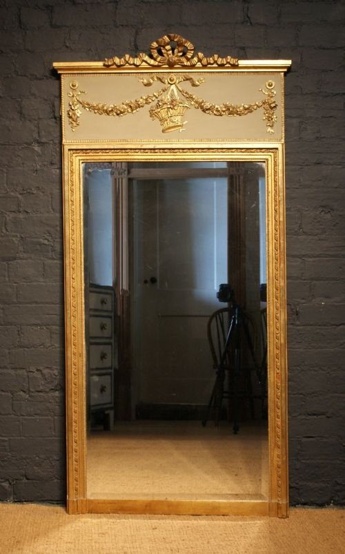 Late 19th Century French Parcel Gilt Trumeau Mirror
