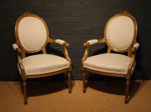 A Pair Of Late 19th Century Louis Xvi Antique French Gilt Wood Chairs
