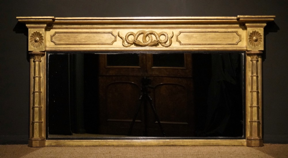 early 19th century carved wood and water gilt overmantle mirror