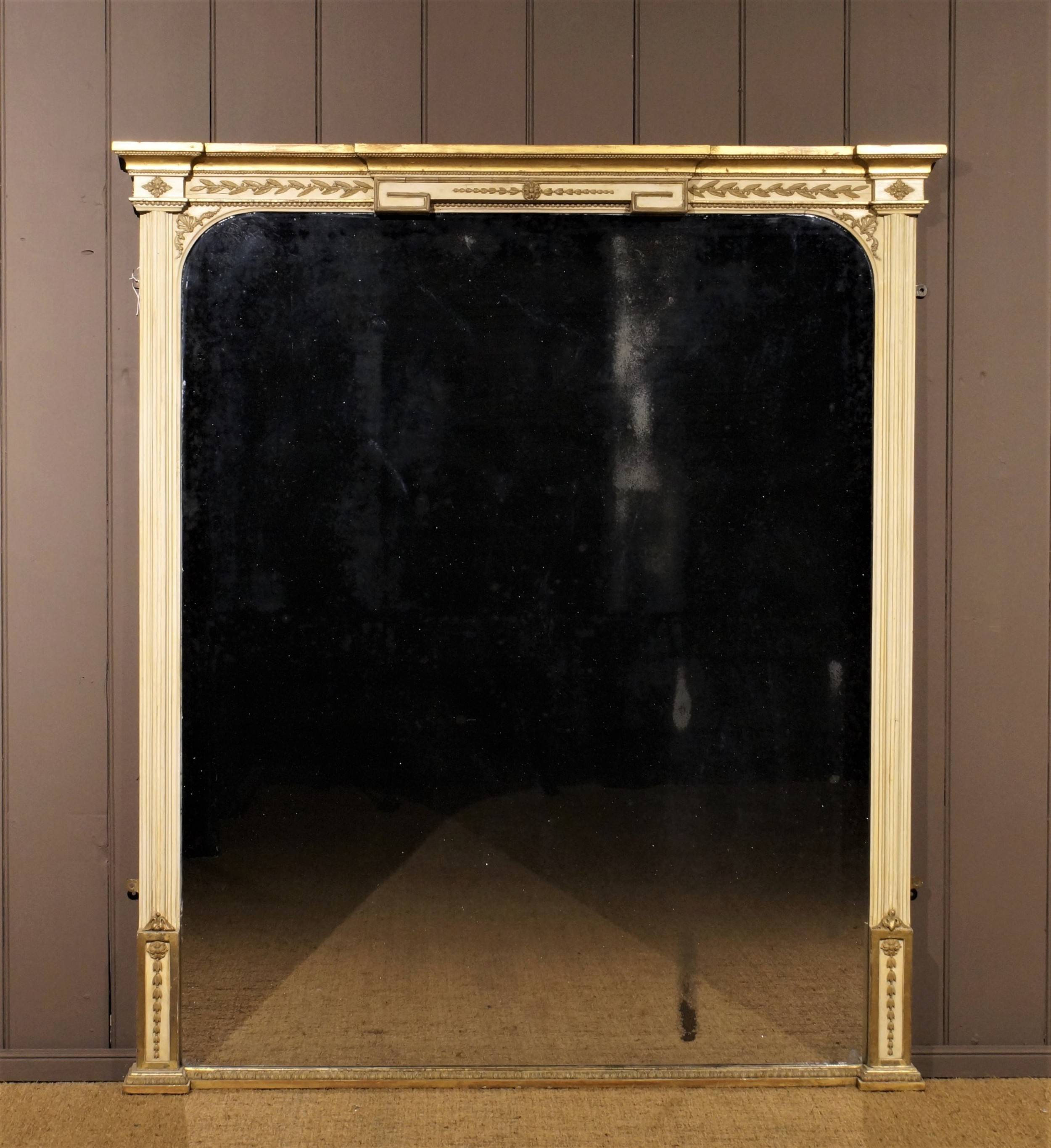19th century parcel gilt and gesso overmantle mirror