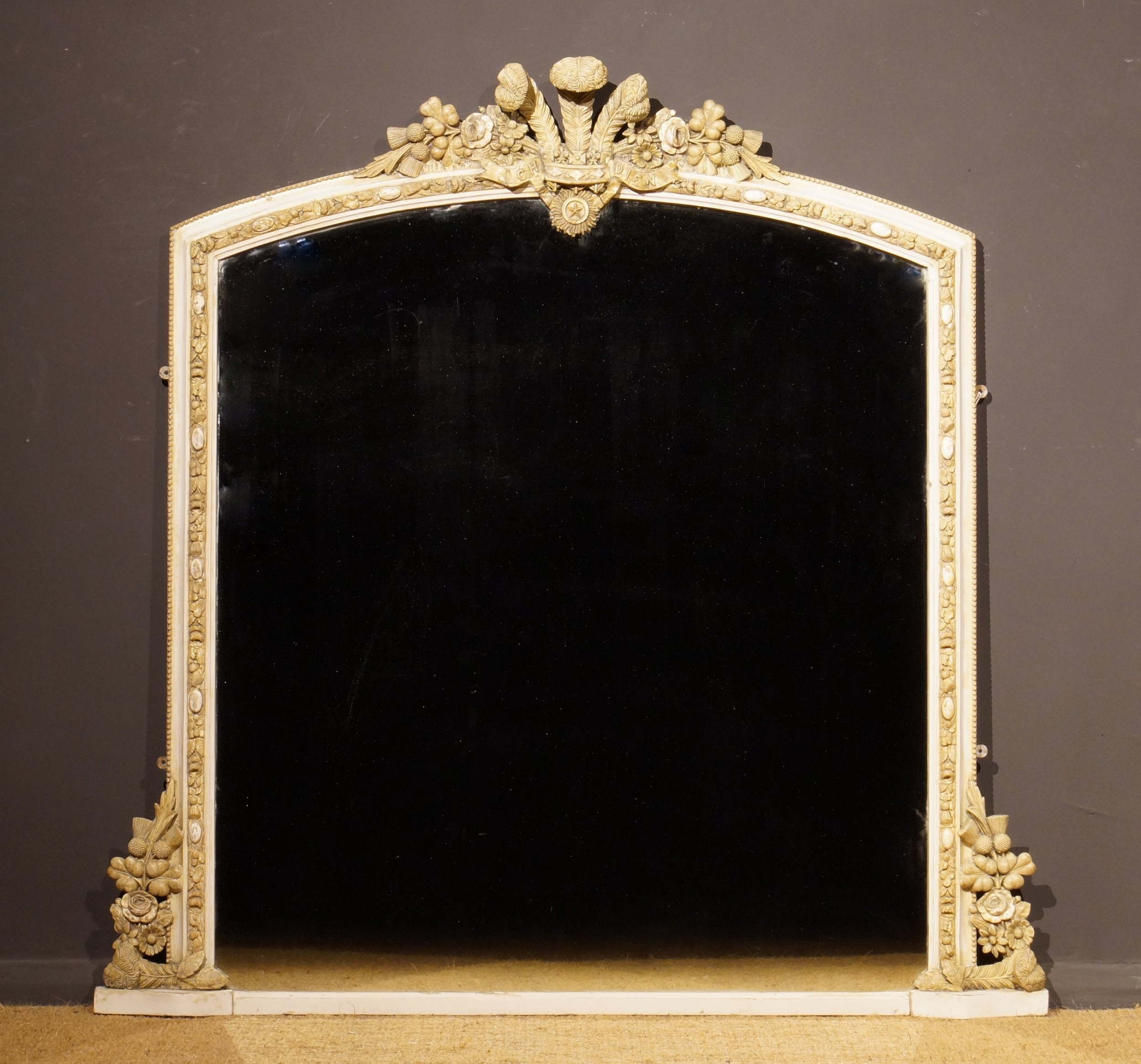 19th century gesso overmantle mirror with the prince of wales feathers and motto
