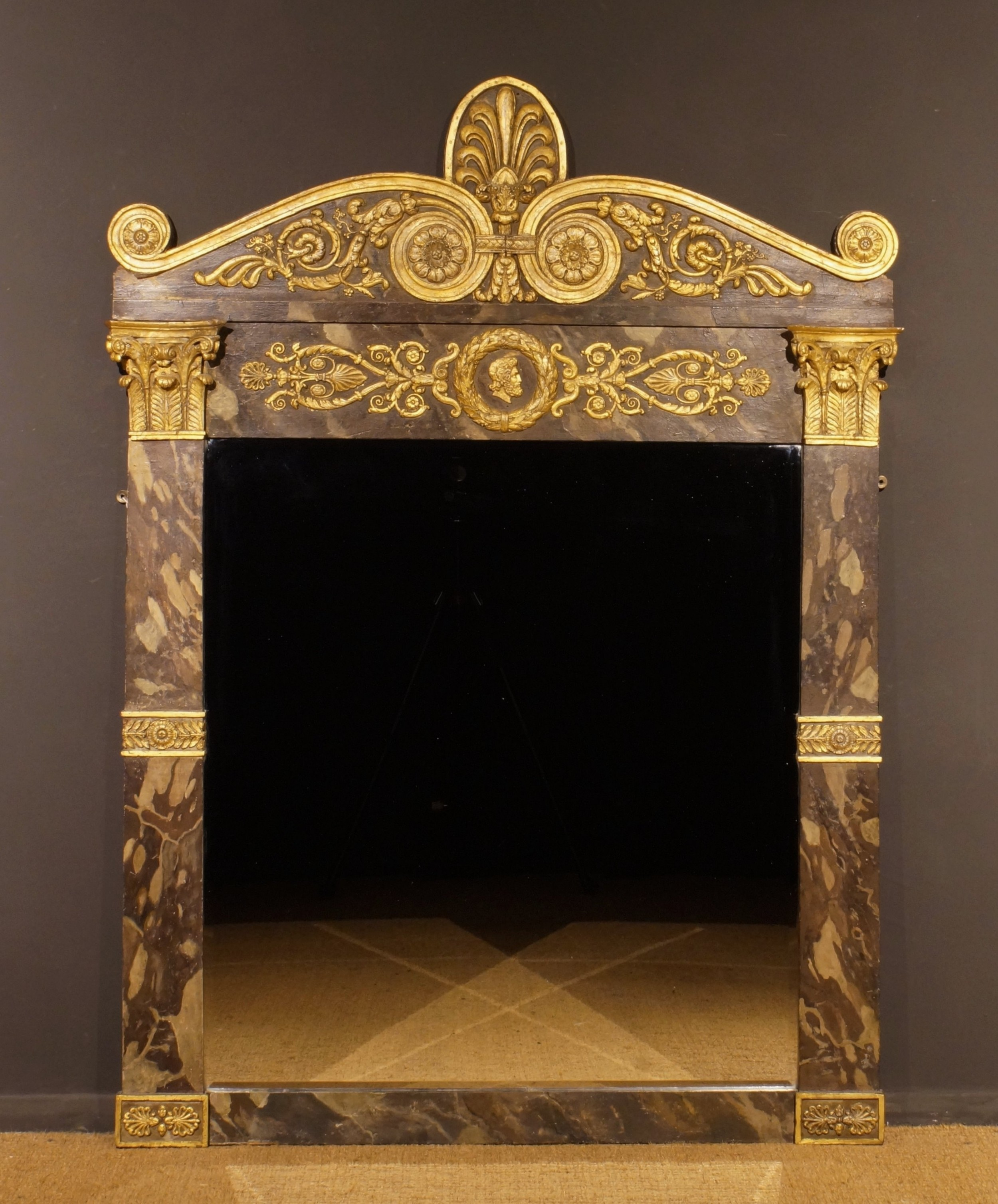 mid19th century italian overmantle mirror in the empire style