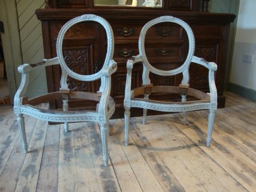 Perfect Antique French Louis Xv Style Open Arm Chairs Frames | 151769  MR77