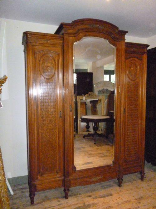 French Triple Mahogany Armoire Wardrobe 214533