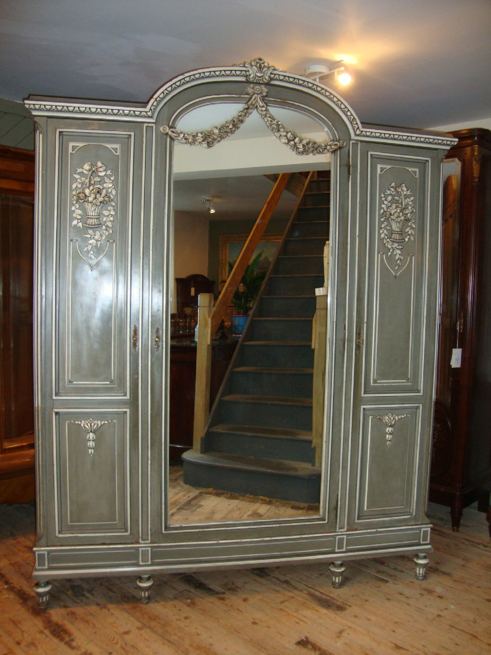french louis xvi style triple door armoire 242270. Black Bedroom Furniture Sets. Home Design Ideas