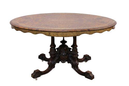 victorian burr walnut inlaid loo table