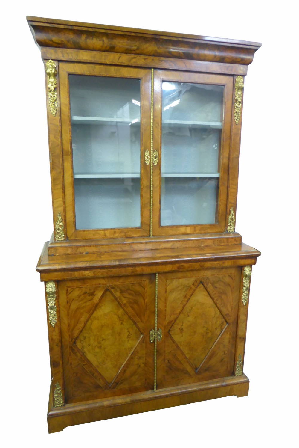 top quality victorian burr walnut bookcase