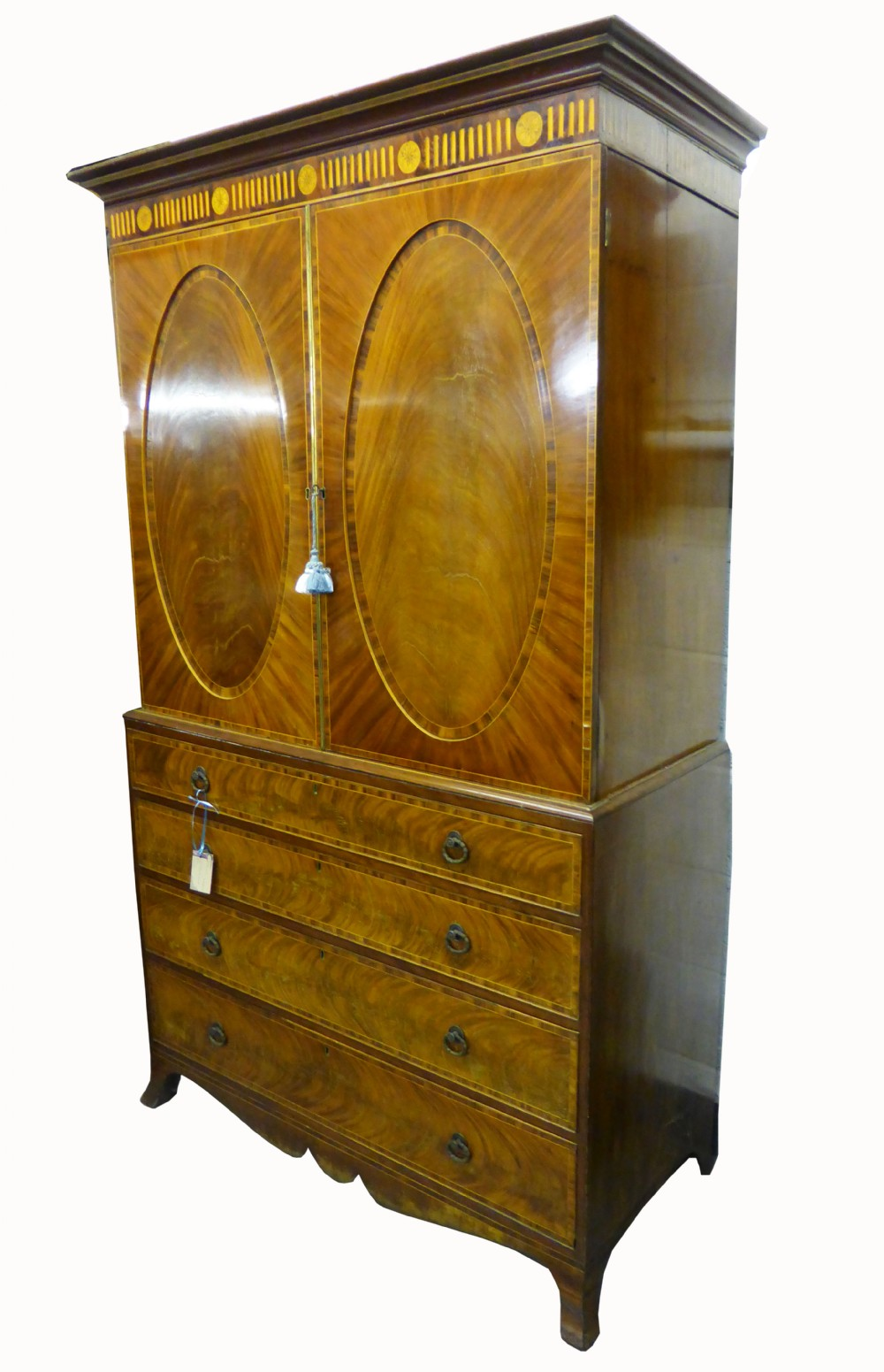 early 19th century mahogany linen press by t wilson of great queen st london