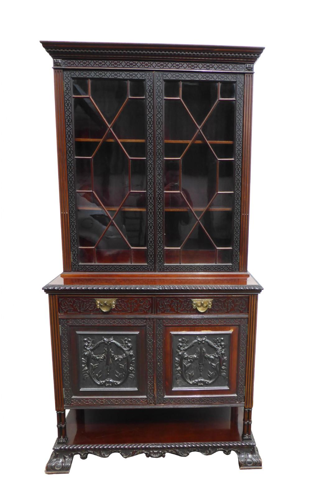 late victorian mahogany blind fretwork bookcase