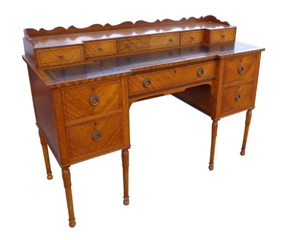 edwardian satinwood carlton house style writing desk