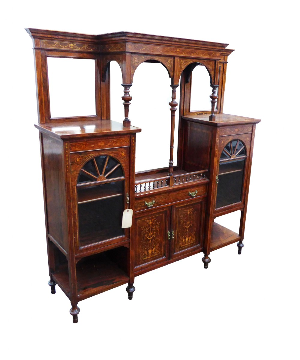 edwardian rosewood and marquetry inlaid cabinet