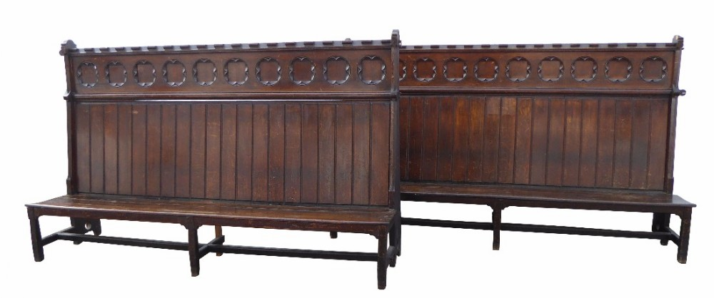 pair of victorian gothic revival benches