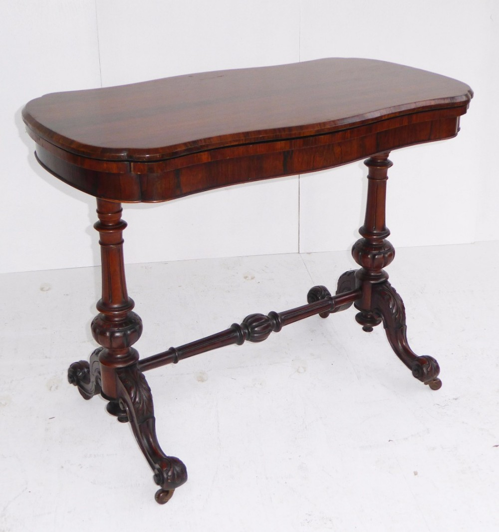 victorian rosewood serpentine card table