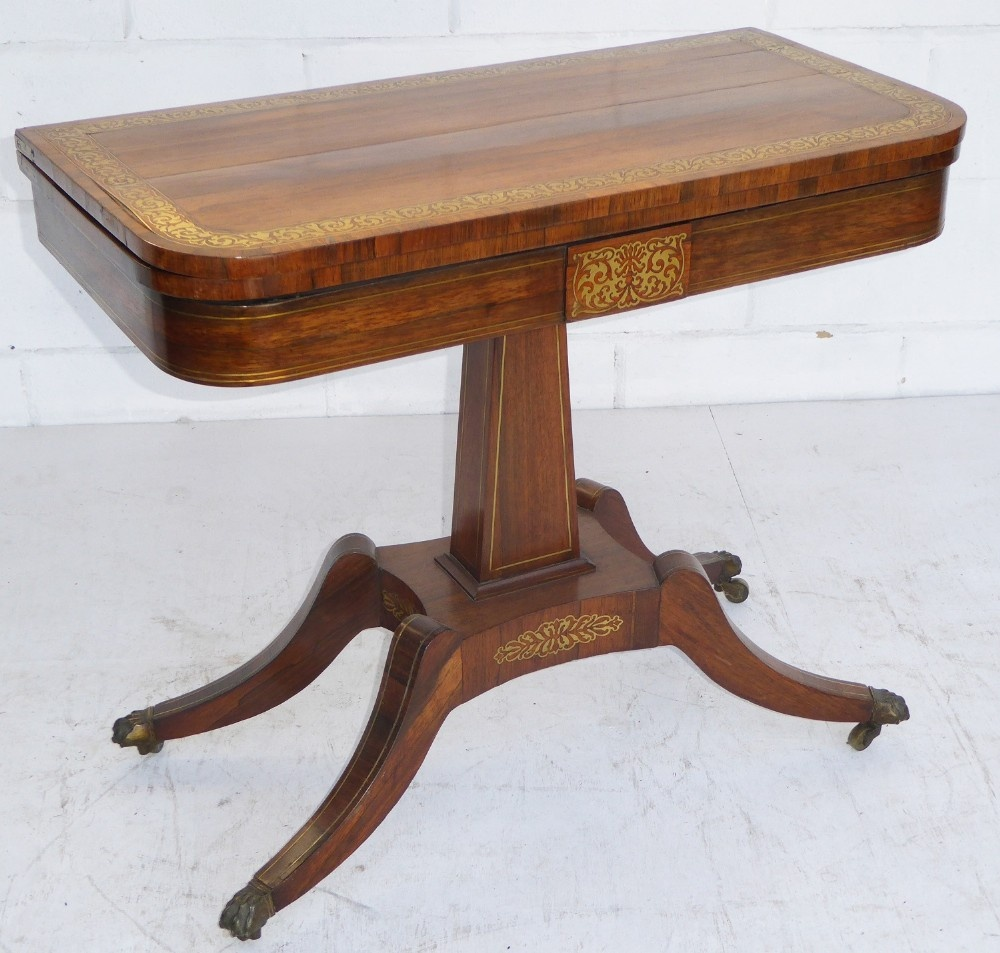 regency rosewood and brass inlaid
