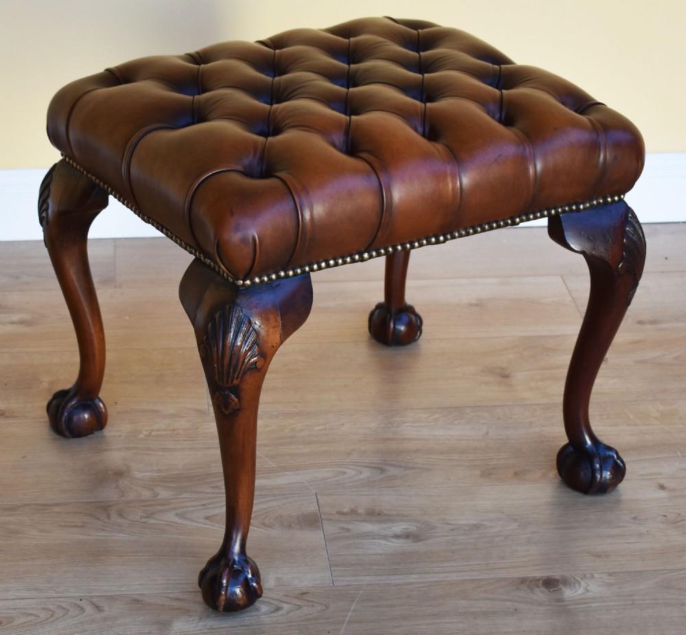 antique queen anne style deep button foot stool
