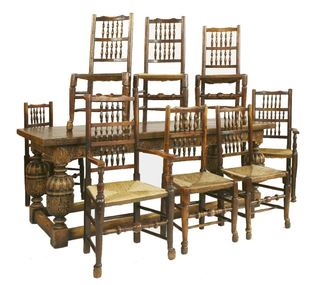 20th century carved oak refectory table 8 dining chairs