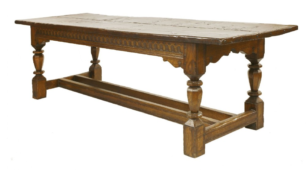 20th century solid oak refectory table