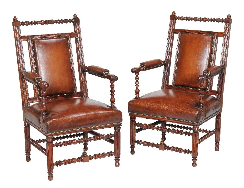 pair of 19th century victorian walnut gothic revival armchairs