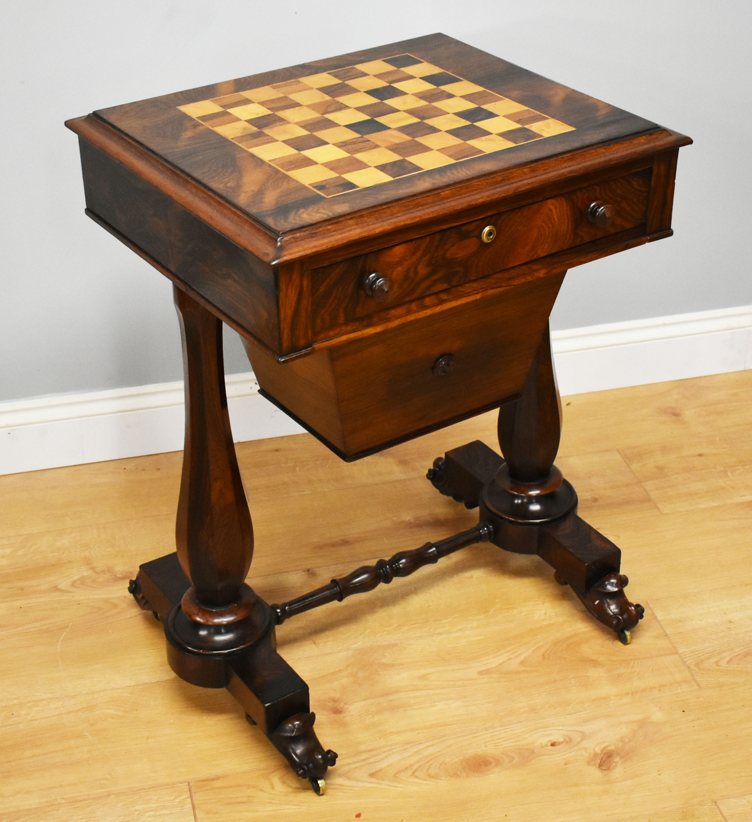 19th century william iv rosewood games table