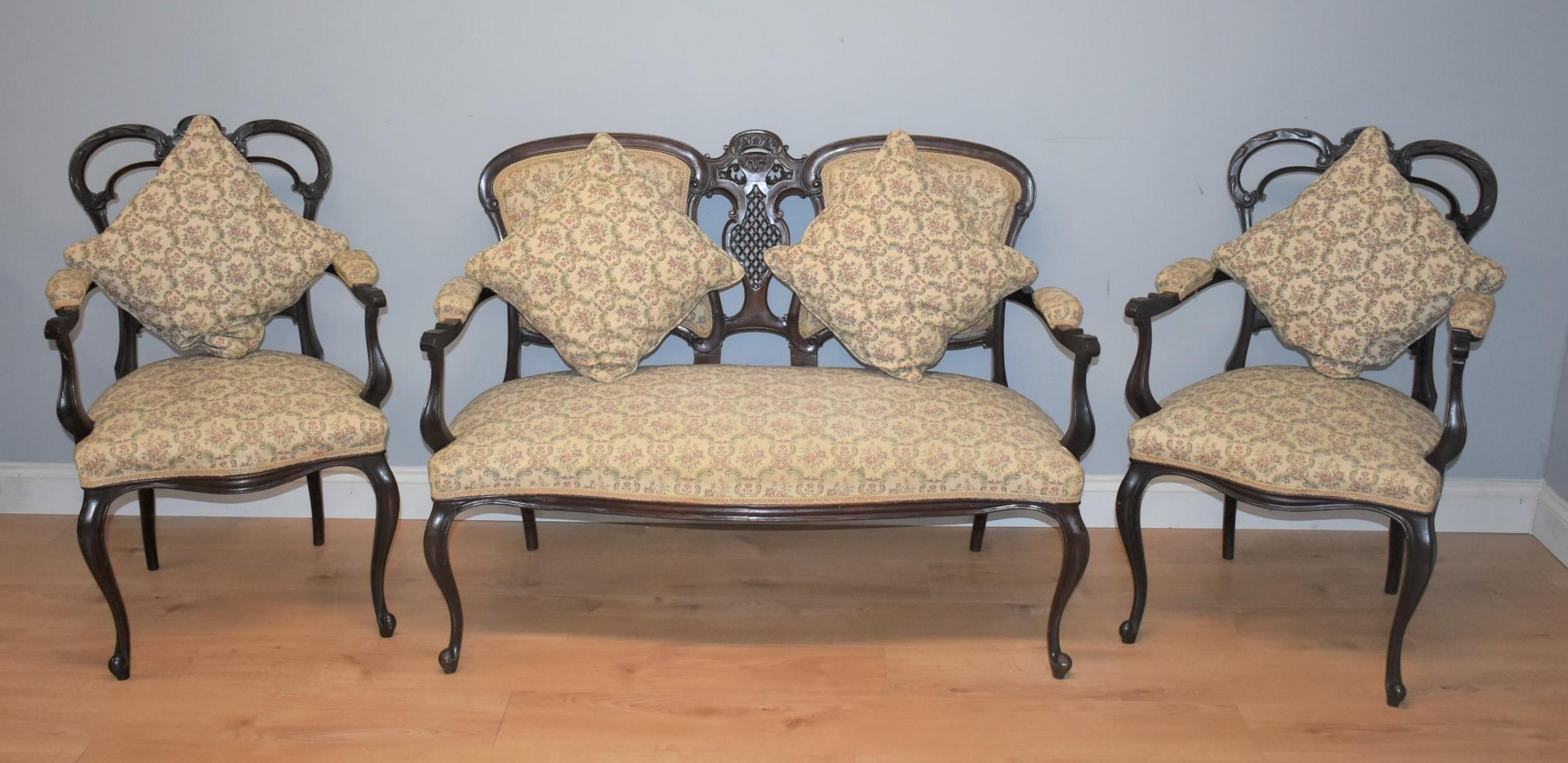 edwardian mahogany three piece salon suite