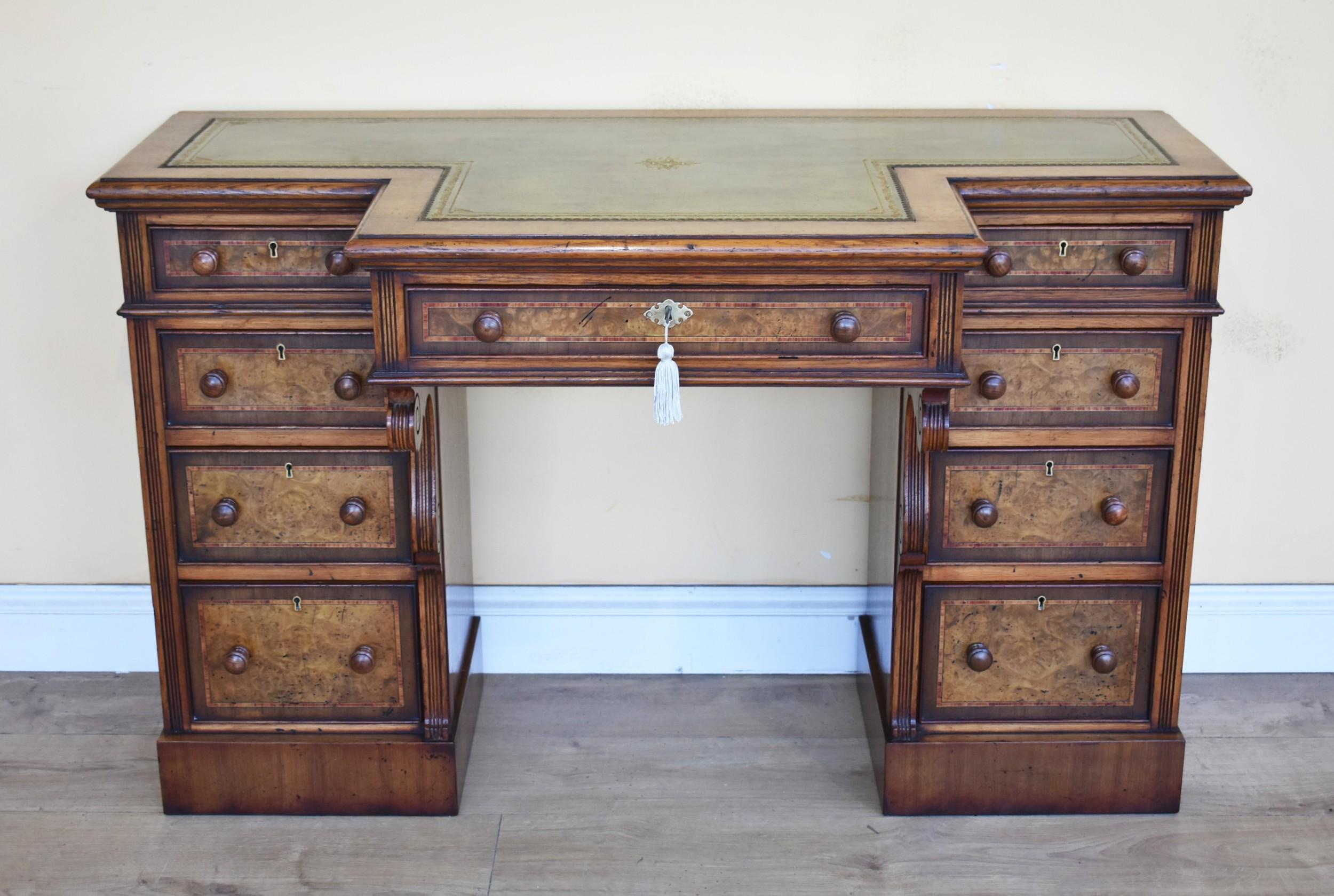 19th century victorian burr walnut pedestal desk