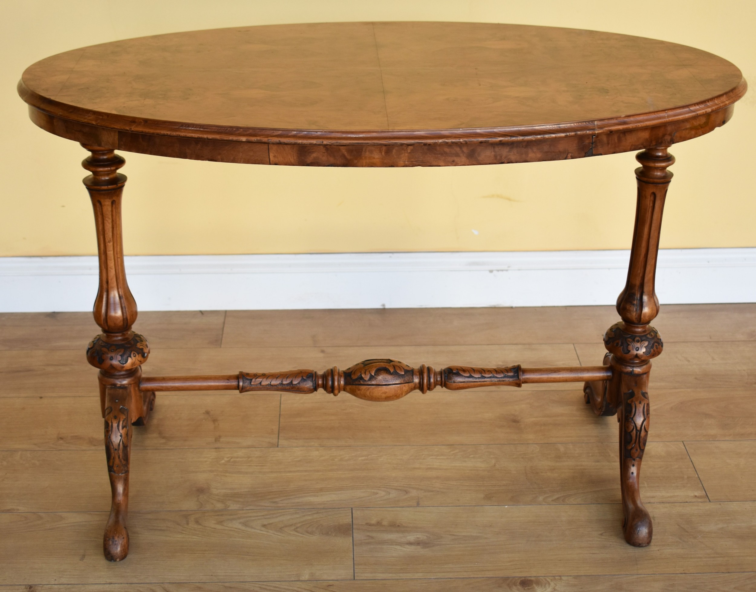 19th century victorian burr walnut occasional table