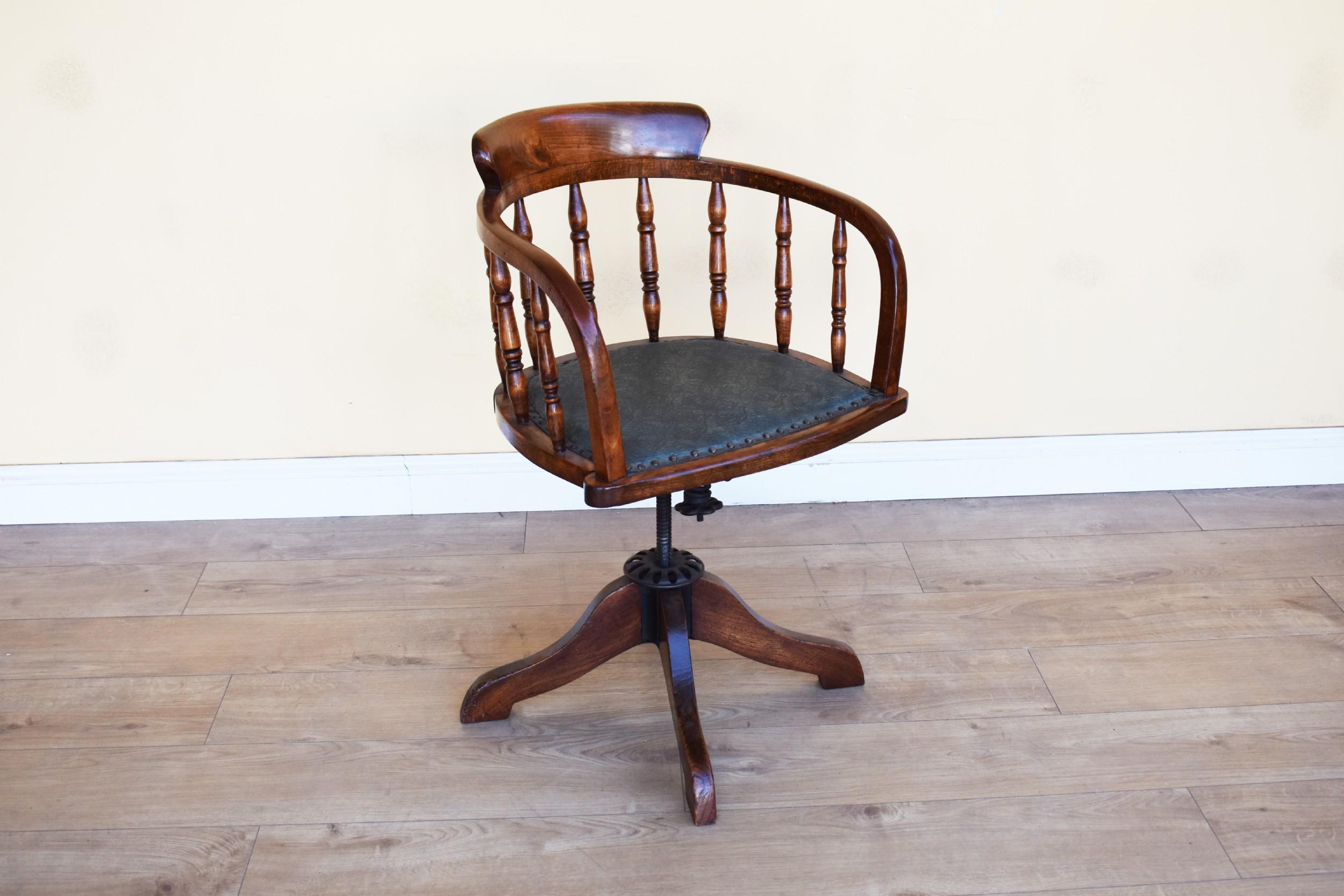 edwardian solid oak captains desk chair