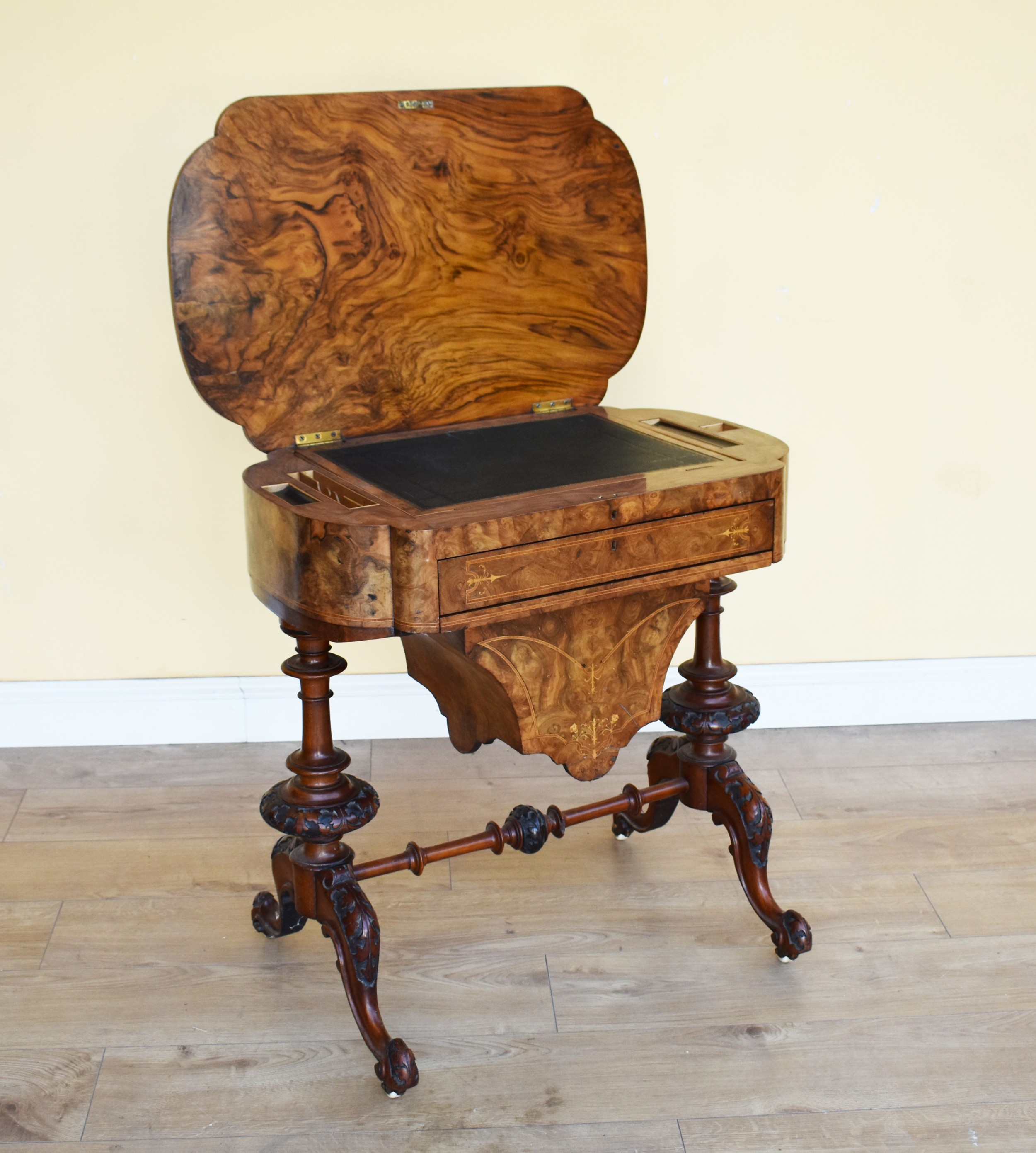 19th century victorian burr walnut work table writing table