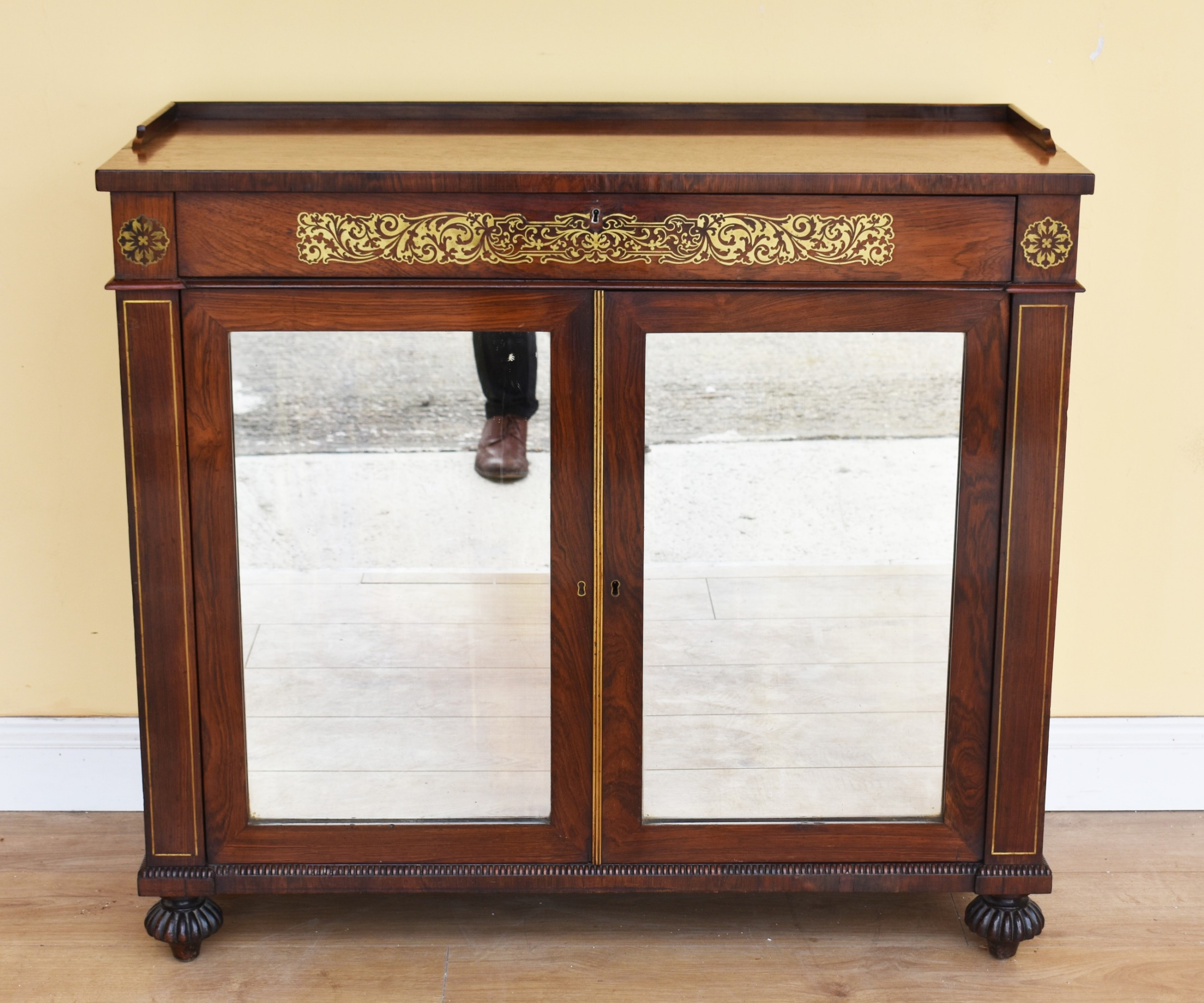 19th century regency rosewood brass inlaid side cabinet