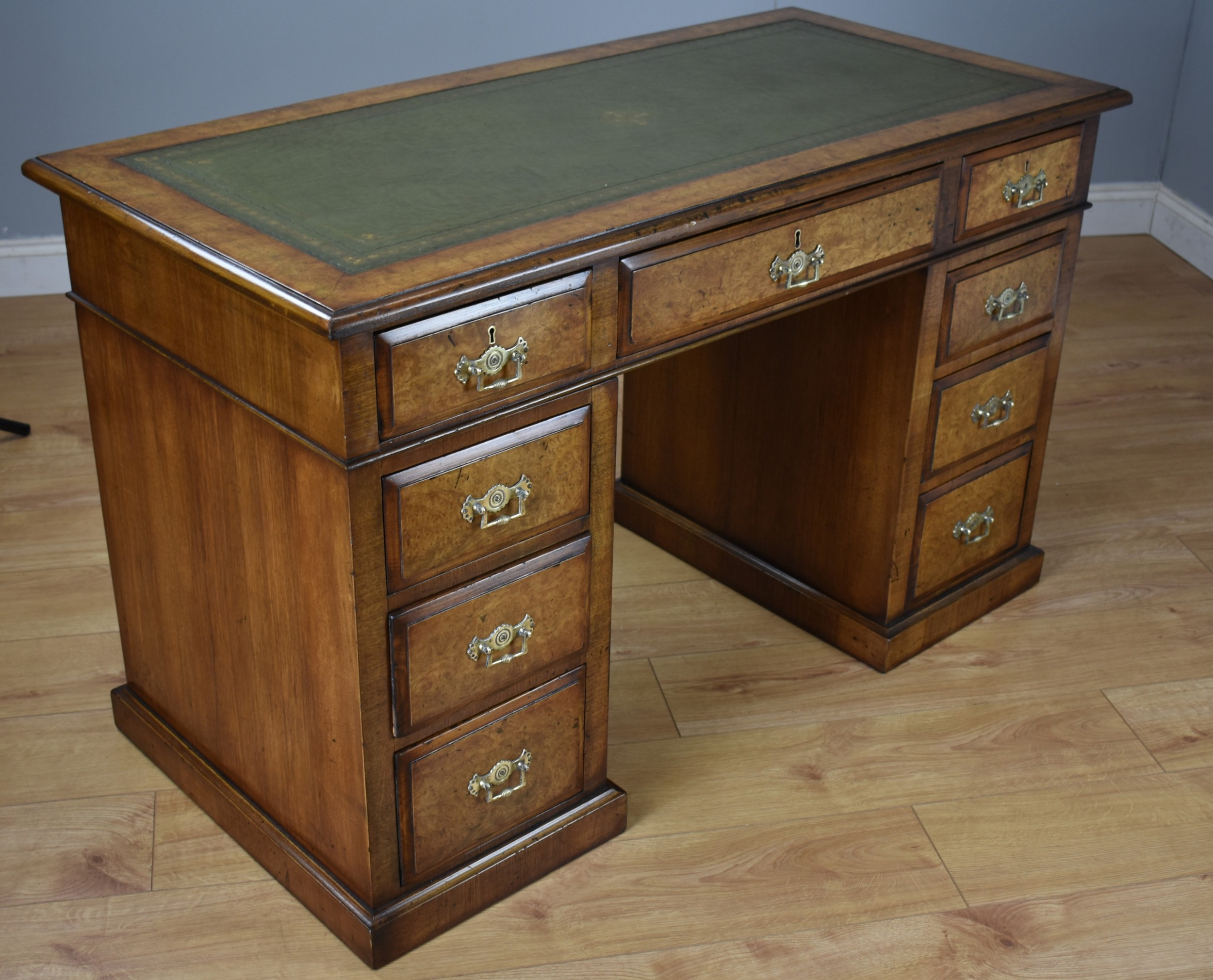 19th century victorian burr walnut pedestal desk