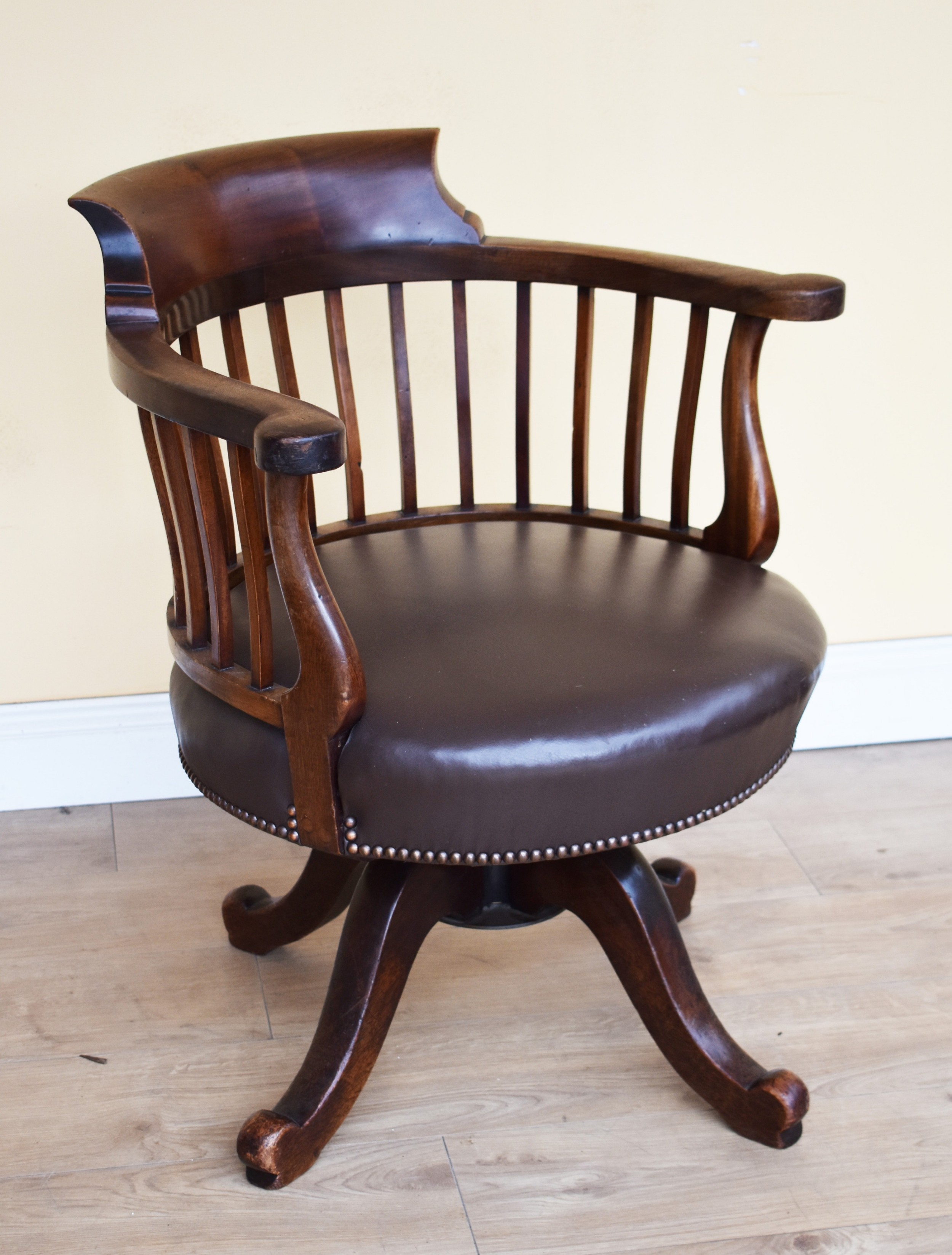 19th century victorian mahogany swivel desk chair