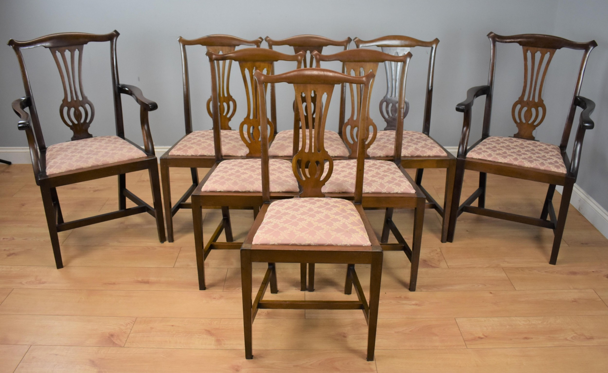 set eight edwardian dining chairs