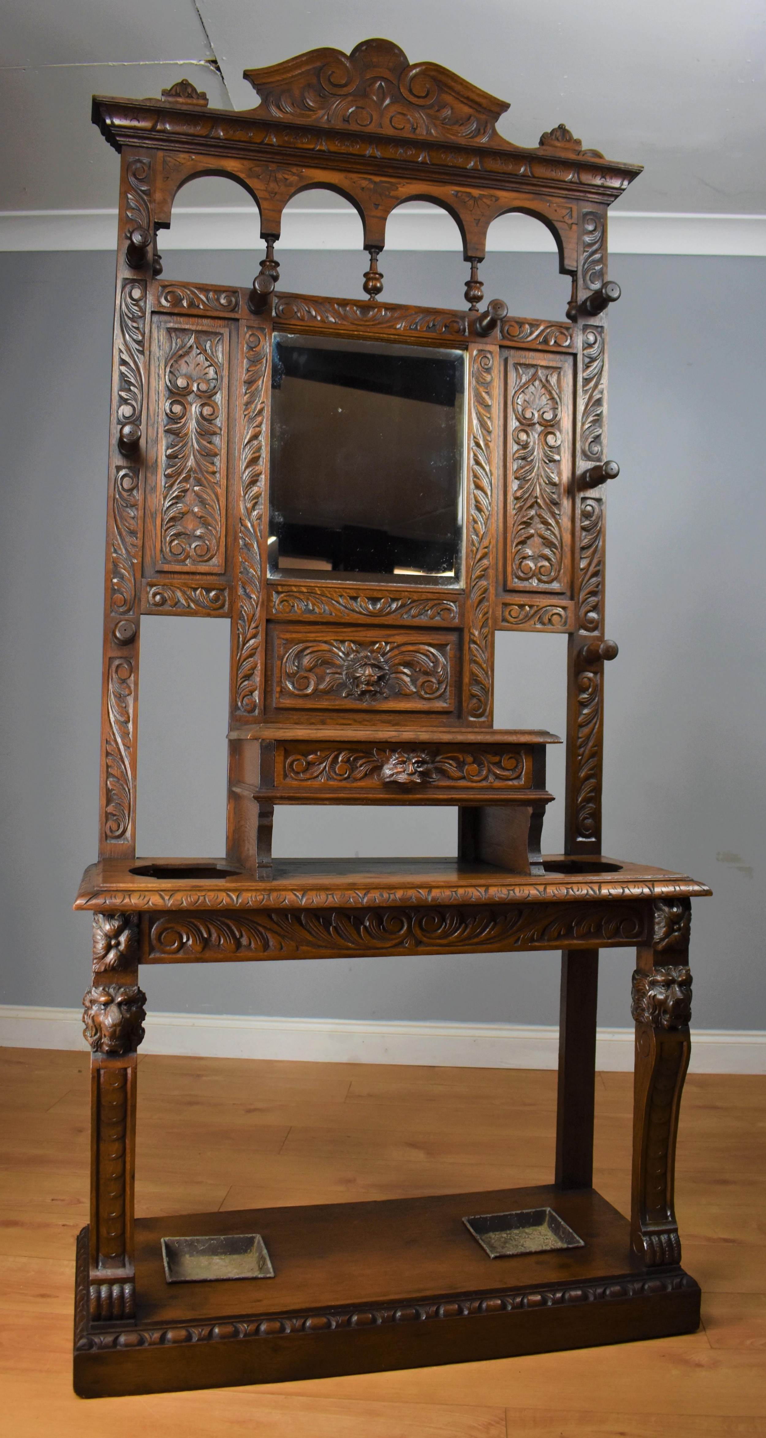 19th century carved oak flemish style hall stand